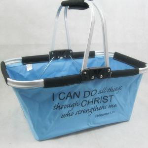 Folding Picnic Shopping Basket or Folding Picnic Cooler Basket with Aluminium Frame