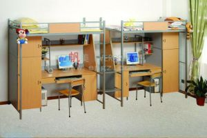 Cheap Iron and Wood School Student Dormitory Bunk Bed with Desk for Sale Sf-14r pictures & photos