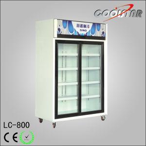 Double Open Glass Door Vertical Beverage Chiller With Top Light Box (LC 800)