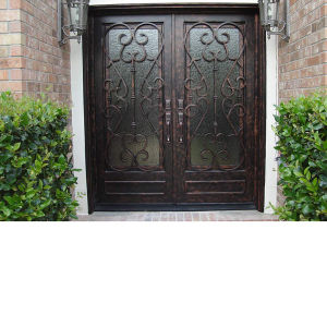 Cheap Price Wrought Iron Door Entrance Glass pictures & photos