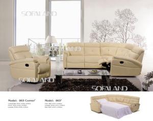 Beige Color 5 Seat High Back Leather Corner Sofa