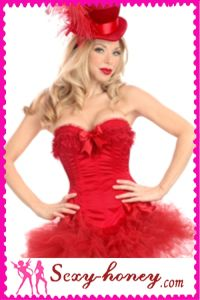 Red Color Overbust Sexy Corset (LD-10362)