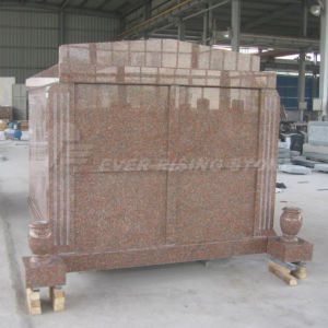 China Red Granite Mausoleum Four Crypts Mausoleum