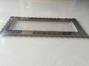 Plastic Small Tray with Silver Edge (ST75-S)