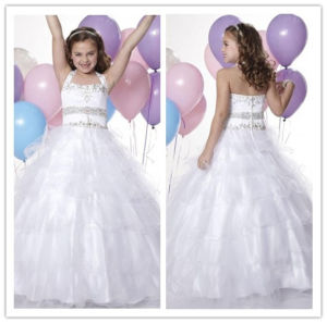 New Design White Tulle and Satin Sleeveless Floor Length Zipper Back Beaded Ball Gown Halter Flower Girls Dresses (MQ 1012)