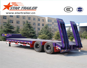 2 Axles Tire Heavy Transport Low Bed Semi Trailer pictures & photos