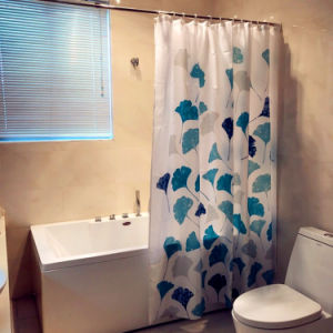 Lotus Leaf Polyester Shower Curtain For Bathroom