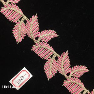 7cm Pink Saree Boarder, Embroidery Lace Trim with Leaves Pattern Hme867 pictures & photos