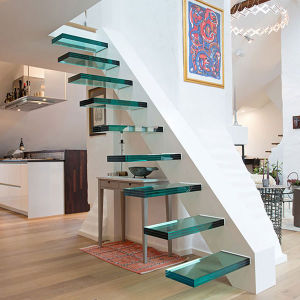 Wooden Staircases with Acacia Wood Stair Treads Pr-L1106 pictures & photos