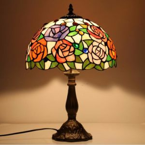 Jld 8351 Vintage Stained Gl Rose Flower Table Lamp 12 Inches Lampshade