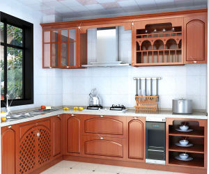 pole solid wood veneer modular kitchen cabinet