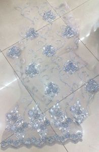 New Crystal Embroidery Organza Lace Fabric Cl5067 One Side