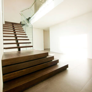 Modern Staircase Design with Floating Timber Steps and Glass Railing pictures & photos