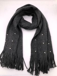 Women Pearl Tassel Solid and Wear Warm Knitted Scarf