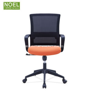 China Reasonable Price Orange Fabric Mid Back Mesh Office Chair China Executive Chair Meeting Chair