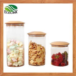 Transparent Glass Jars with Bamboo Lid pictures & photos