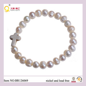 Europe Style White Turquoise Cross Freshwater Pearl Bracelet, Gift for Mother pictures & photos