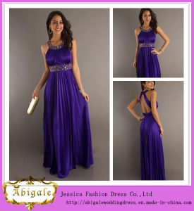 New Sexy Chiffon Purple Ruched Halter Beaded Backless Sleeveless Empire Prom Dress Evening Dress 2014 Yj0041