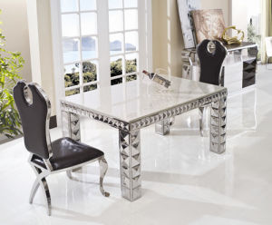 China Marble Top Stainless Steel Frame Dining Table And Chair