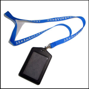 Staff Leather PU Name/ID Card Badge Reel Holder Custom Lanyard with Clips (NLC009) pictures & photos