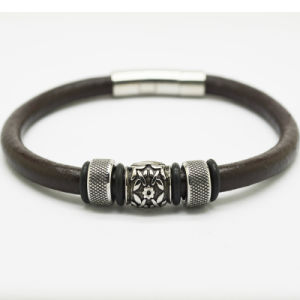 Stlb-018 Stainless Steel Magnetic Clasp Popular Leather Bracelets