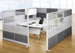 Modern Aluminum Partitions Mixed with Fabric and Glass Cubicle (SZ-WS680) pictures & photos