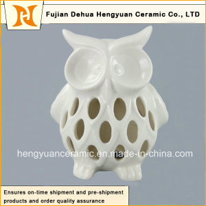 Lovely Hollow out Ceramic Owl Candle Holder, Owl White Glazed pictures & photos
