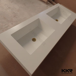 China Prefab Solid Surface Bathroom Countertops With Built