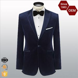 Men′s Peak Lapel Single Button Velvet Suit Blazer for Men pictures & photos