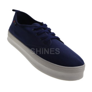 Navy Canvas Lace up Injection Shoes for Women