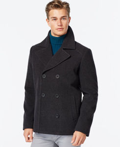Men Notch Lapel Warm Wool-Blend Peacoat pictures & photos