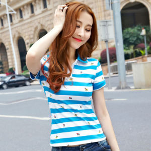 Fashion 100% Cotton Golf Custom Striped Polo Shirt pictures & photos