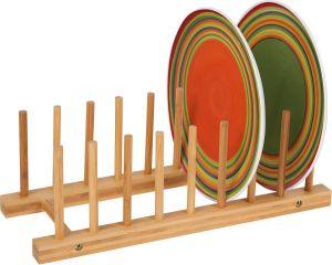 Kitchen Corner Innovation Organic Bamboo Wooden Color Plate Holder Rack