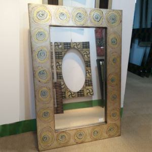 Flowers Decorative Design Wood Mosaic Mirror Frame (LH-000525) pictures & photos