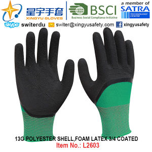 13G Polyester Shell Foam Latex 3/4 Coated Gloves (L2603) with CE, En388, En420, Work Gloves pictures & photos