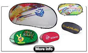 Promotional Oval Pop up Banners Round Pop up out a-Frame Banner Outdoor Portable Folding Advertising Signs Stand Sports Golf Event Display pictures & photos
