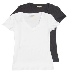 Solid Color Women′s V Neck T-Shirt pictures & photos