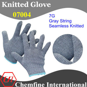 7g Gray Polyester/Cotton Knitted Glove with Blue Over Lock pictures & photos