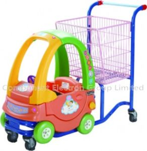 Hot Sell Good Cheap Zinc with Powder Plastic Basket Cartoon Child Cart with PU Wheel (YB-G002)