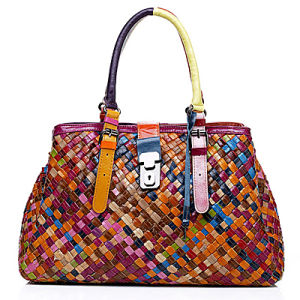Alibaba China Patchwork Leather Hand Bag Emg2842 pictures & photos