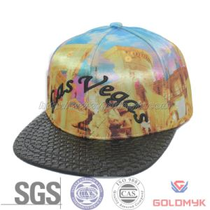 Microfabric Satin Snapback Hat with Leather Brim (GKA15-A00034) pictures & photos