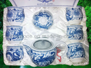 Blue and White Porcelain Double Layers Tea Set (6615-009) pictures & photos