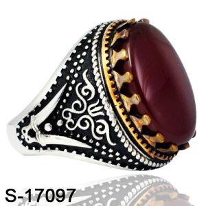 Factory Wholesale Silver&Copper Jewelry Ring with Onyx pictures & photos