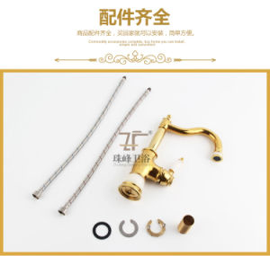 New Design Single Handle Zf-703 Jade Brass Kitchen Faucet pictures & photos