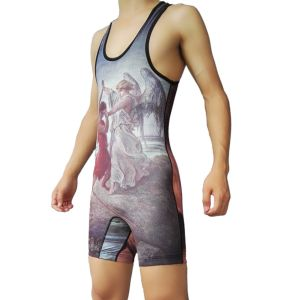 Customized Sublimation Men′s Tank Top Wrestling Singlet with Big Armhole