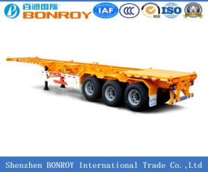 40FT 3axle Gooseneck Skeleton Container Semi Trailer with High Quality Material