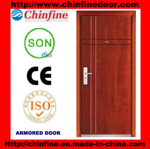Modern Tempered Steel-Wood Armored Door (CF-M004) pictures & photos