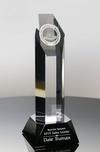 Recognition Trophy Dorado Crystal Top Sales Award
