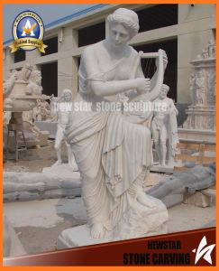 White Marble Stone Carved Music Lady Statues Figure (NS-11F06) pictures & photos