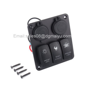 Waterproof 3 Gang LED Rocker Switch with 4 USB Sockets Panel for Marine/Boat/RV pictures & photos